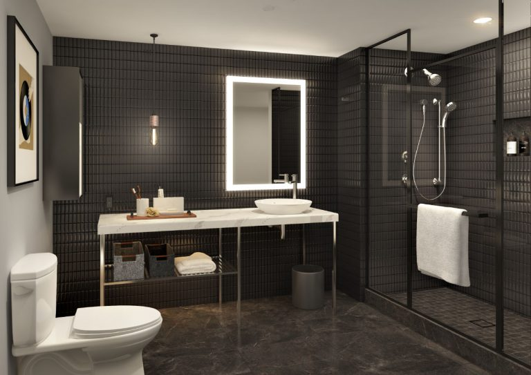 Modern Hotel Bathroom At Arrivé Apartments in Seattle, WA