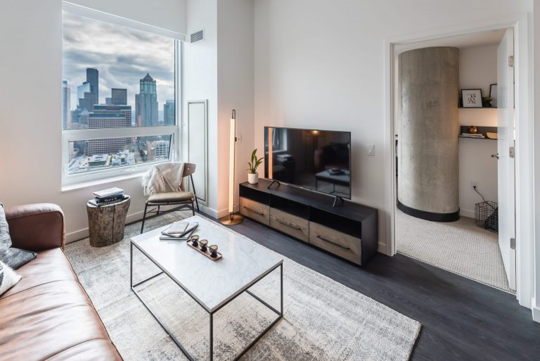 Modern Living Rooms At Arrivé Apartments in Seattle, WA