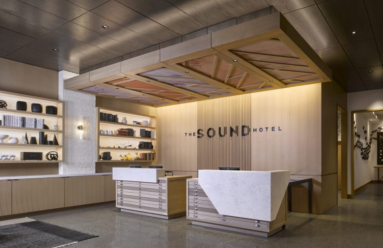 The Sound Hotel Lobby At Arrivé Apartments in Seattle, WA